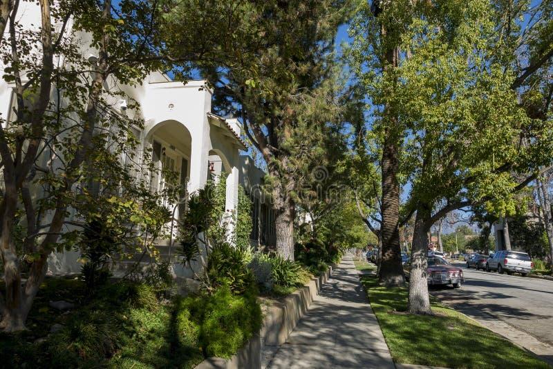 Härlig gata på södra Pasadena arkivbilder