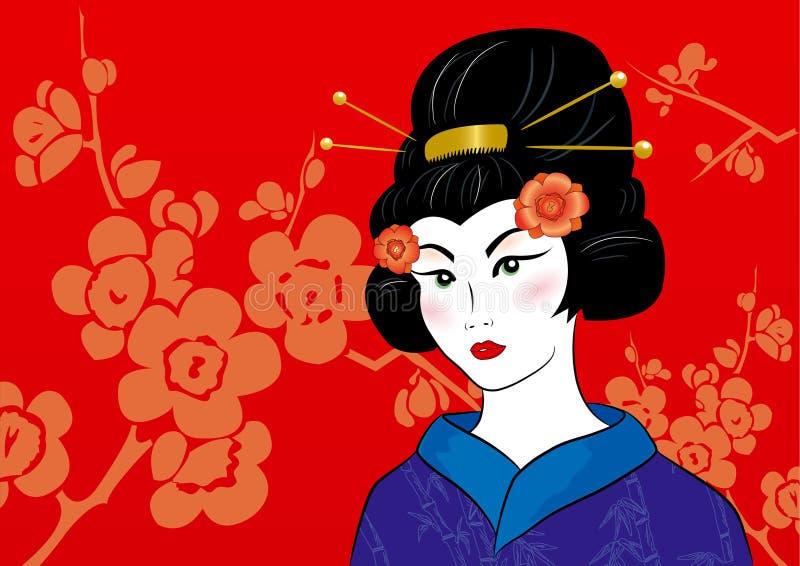 Härlig geisha i en kimono stock illustrationer
