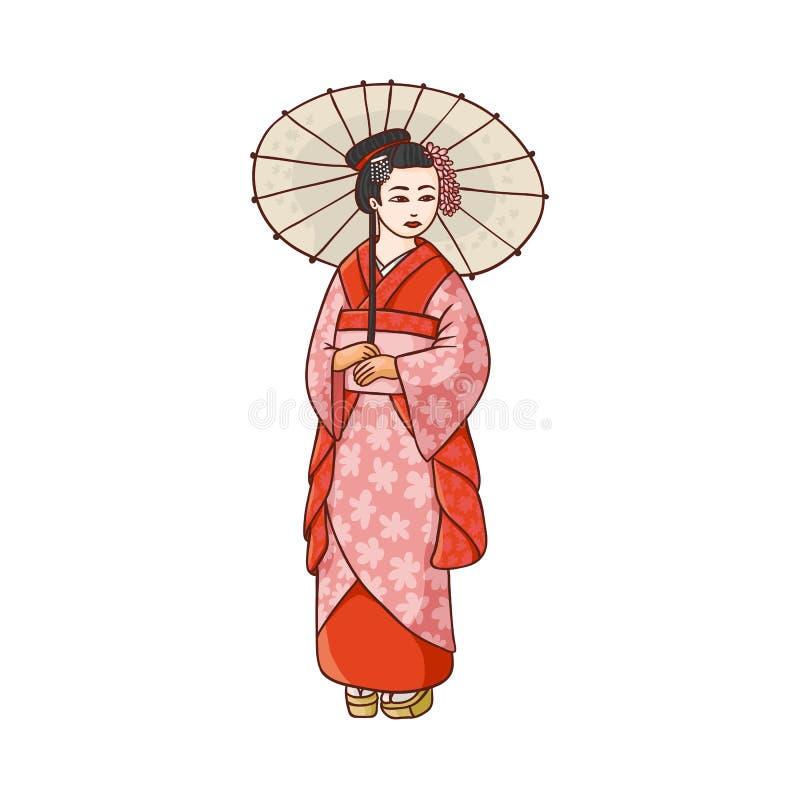 Härlig geisha i japansk kimono med paraplyet vektor illustrationer