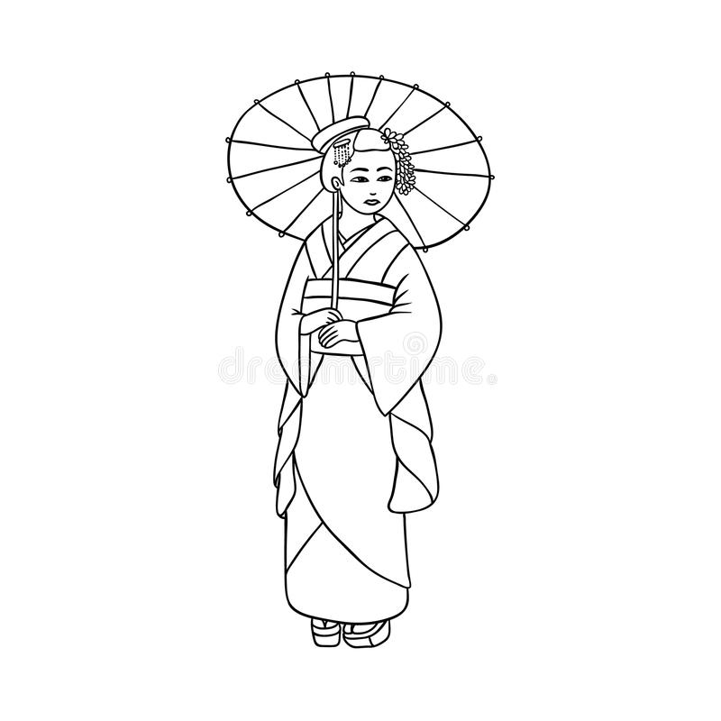 Härlig geisha i japansk kimono med paraplyet royaltyfri illustrationer