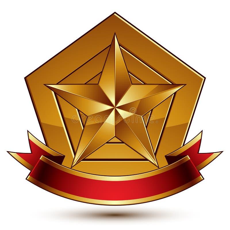 Härlig glansig designbeståndsdel för vektor, femhörnig guld för lyx 3d vektor illustrationer
