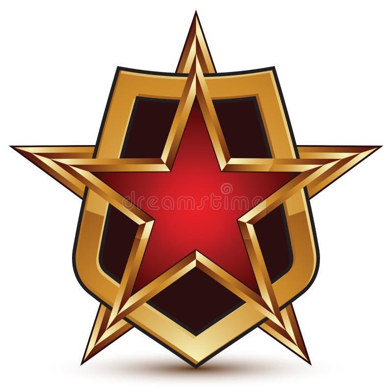 Härlig glansig designbeståndsdel för vektor, guld- stjärna för lyx 3d och stock illustrationer