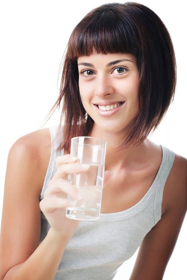härlig glass holding som ler w-kvinnabarn royaltyfri fotografi