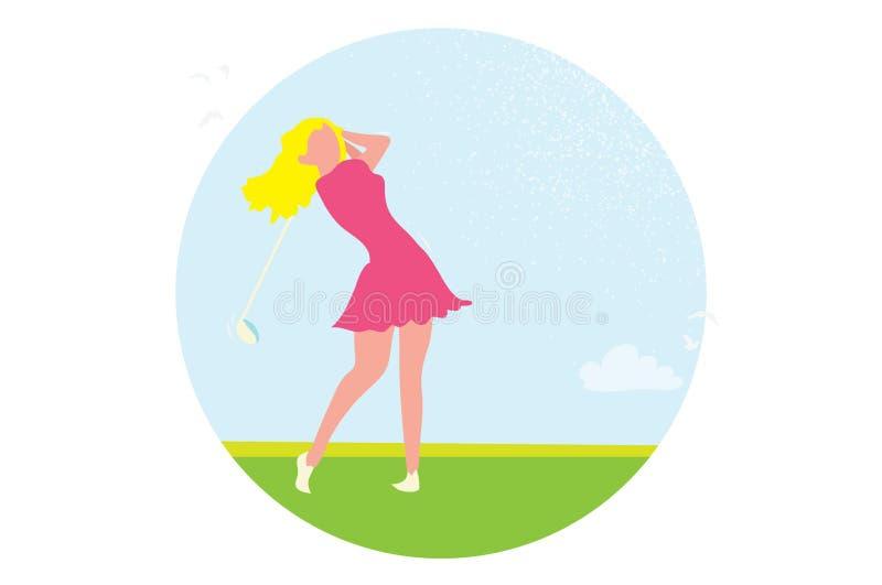 Härlig golfflicka Kvinnlig golfare Modig turnering för sport royaltyfri illustrationer