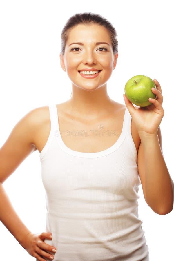 härlig grön kvinna för äpple arkivbild