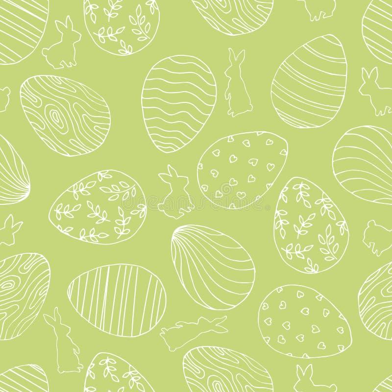 Härlig grön sömlös bakgrund med påskägg och kanin arkivbild