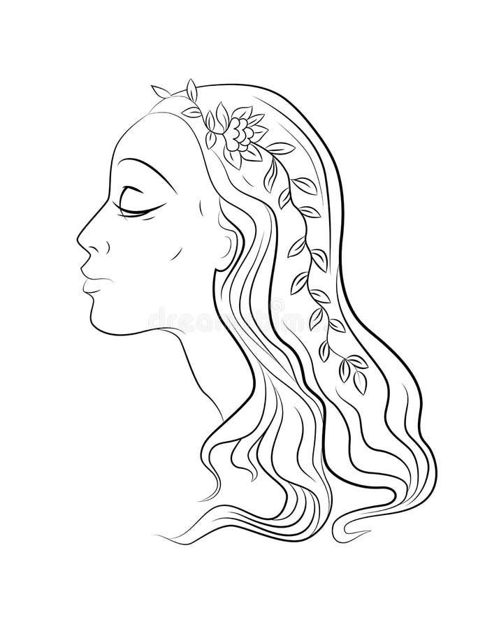 Härlig grafisk flicka med blommor i håren vektor illustrationer