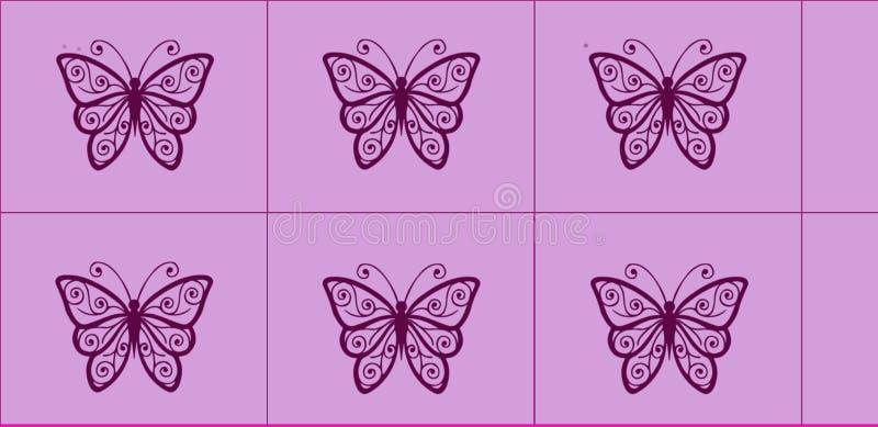 Härlig grafisk tegelplattadesign med rosa bakgrund och den svarta fjärilen för ungar eller arbete för skolaväggtegelplatta stock illustrationer