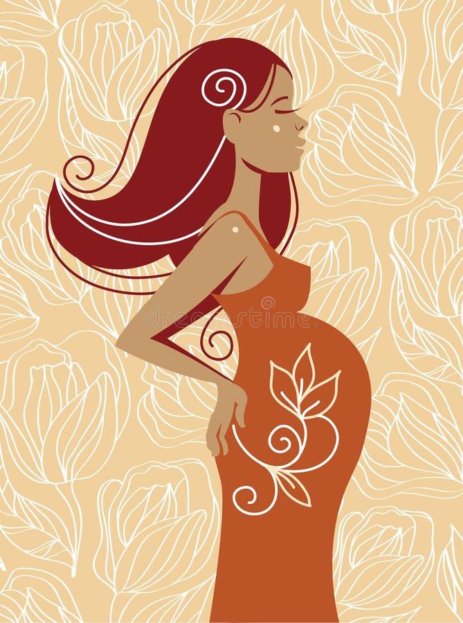 härlig gravid kvinna royaltyfri illustrationer