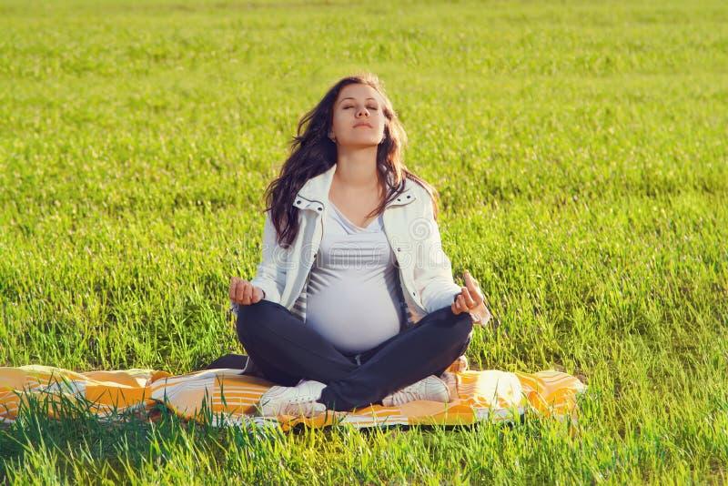 Härlig gravid kvinna arkivfoton