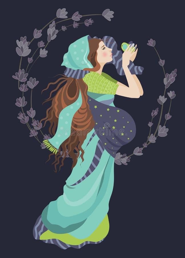 härlig gravid kvinna vektor illustrationer