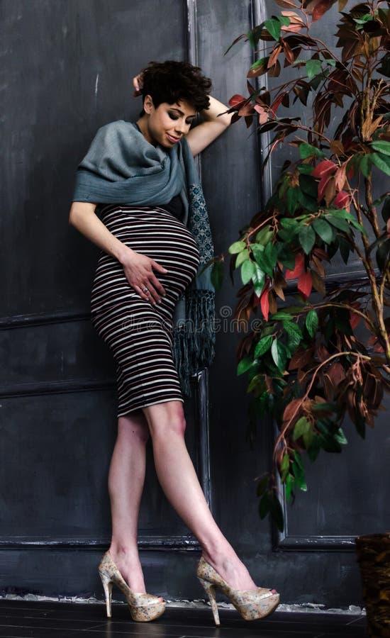 Härlig gravid kvinna hemma arkivfoto