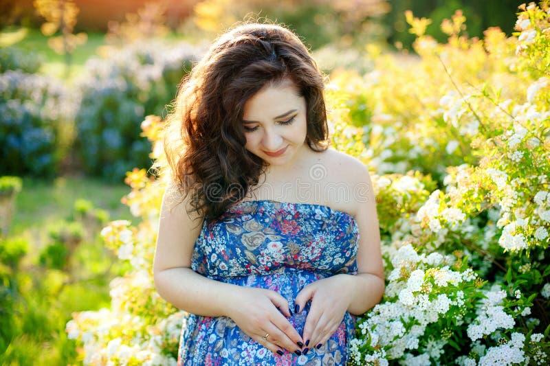 Härlig gravid ung kvinna utanför, varm solig bild fotografering för bildbyråer