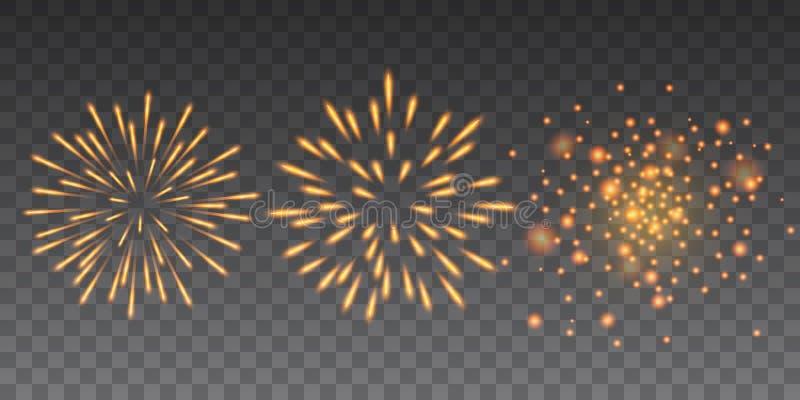 Härlig gul blänka samling för lyckligt nytt år för fyrverkerier på genomskinlig bakgrund royaltyfri illustrationer