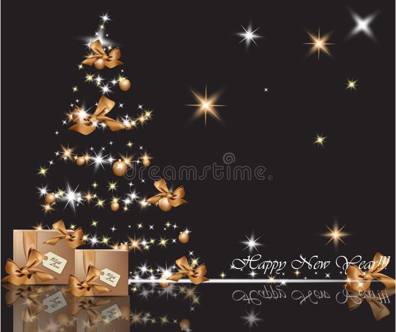 Härlig guld- julgran på skinande bakgrund Glad jul för gåvakort, nytt år och lyckliga ferieberömmar royaltyfri illustrationer