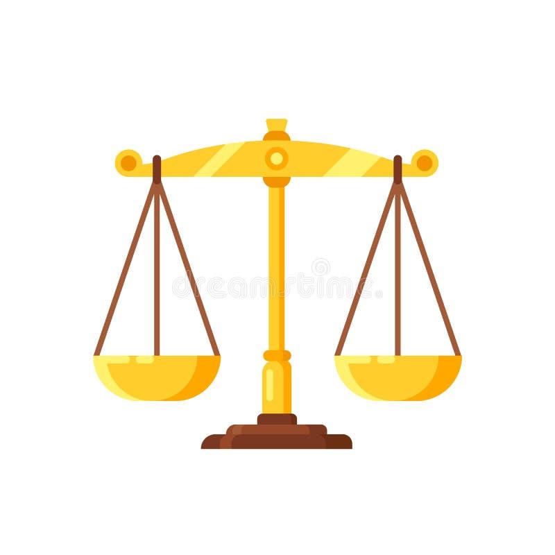 Härlig guld- våg Vägning av beslut, av domar, av symbolrättvisa och av jämvikt stock illustrationer