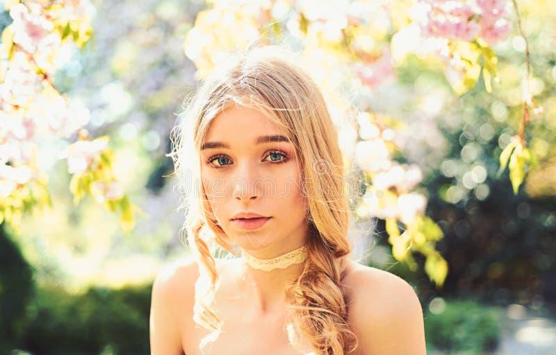 Härlig gullig mjuk ung blond flicka i rosa trädgård i blomma träd i de försiktiga sagolika färgerna Damen går in royaltyfri bild