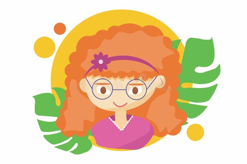 Härlig gullig sommarflicka - illustration av den härliga rödhåriga lyckliga flickaframsidan, positiva framsidasärdrag, blink royaltyfri illustrationer