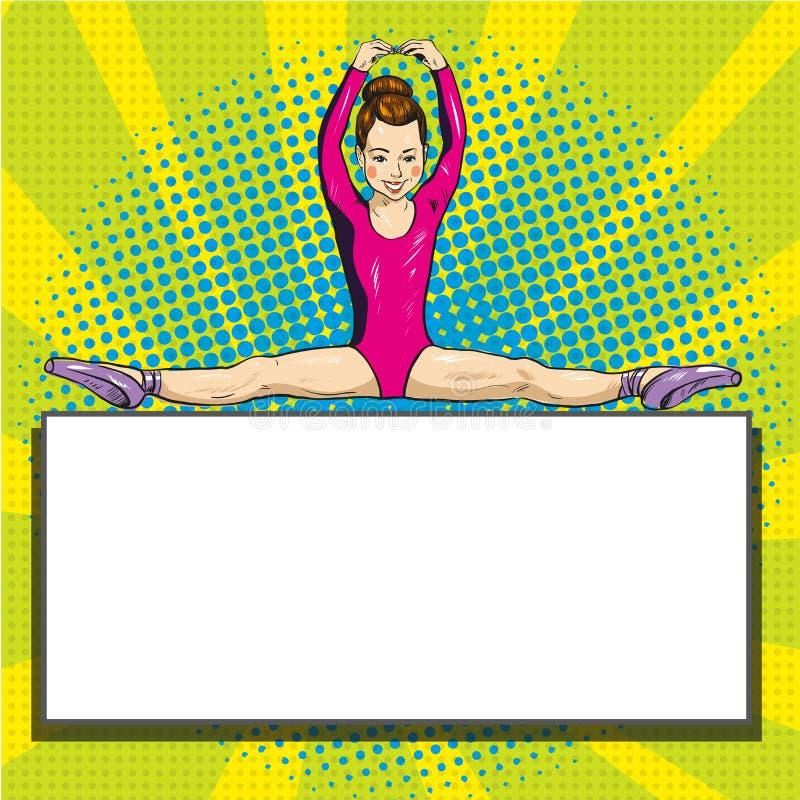 Härlig gymnastsportsommar spelar mallen för komiker för popkonst vektor illustrationer