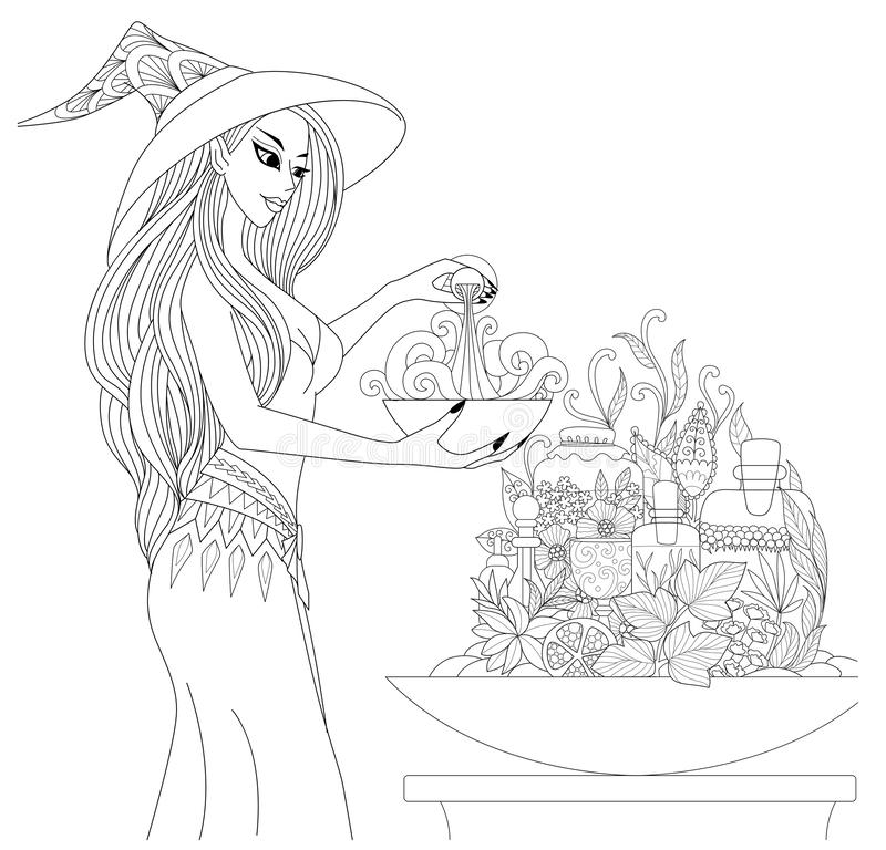 Härlig häxa som förbereder en dryck med apotekareflaskor och örter för allhelgonaaftontema Design för sidor för färgläggningbok V royaltyfri illustrationer
