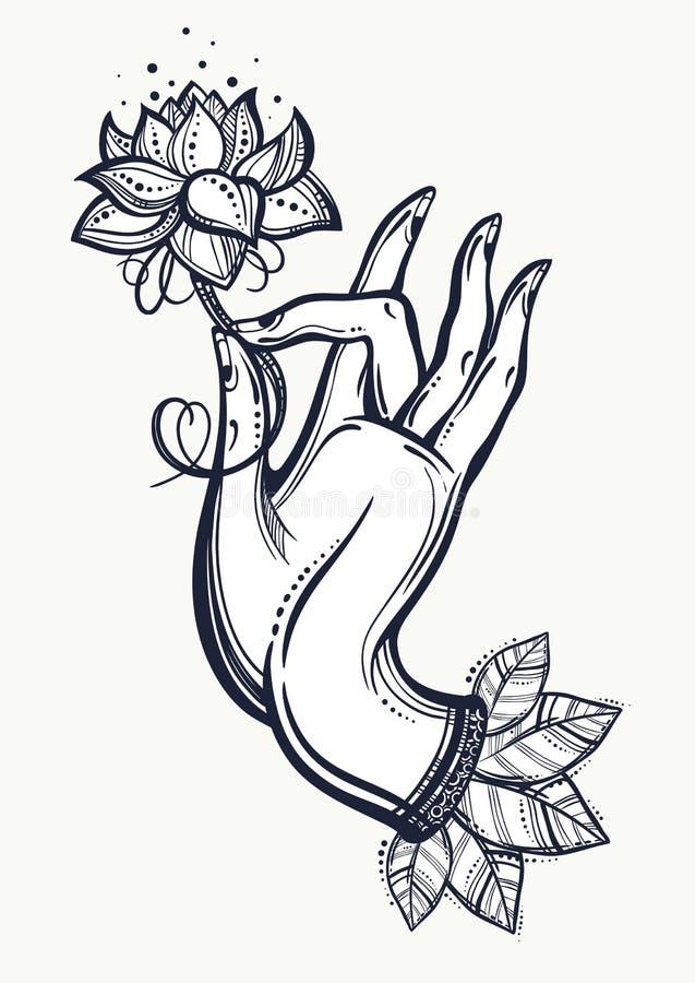 Härlig hög-specificerad hand för Buddha` som s rymmer den Lotus blomman Indier buddism, andliga motiv Inristad isolerad vektorkon stock illustrationer