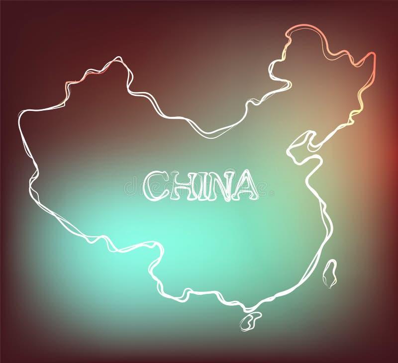 Härlig hand dragen översiktsöversikt av Kina, vektorillustration royaltyfri illustrationer