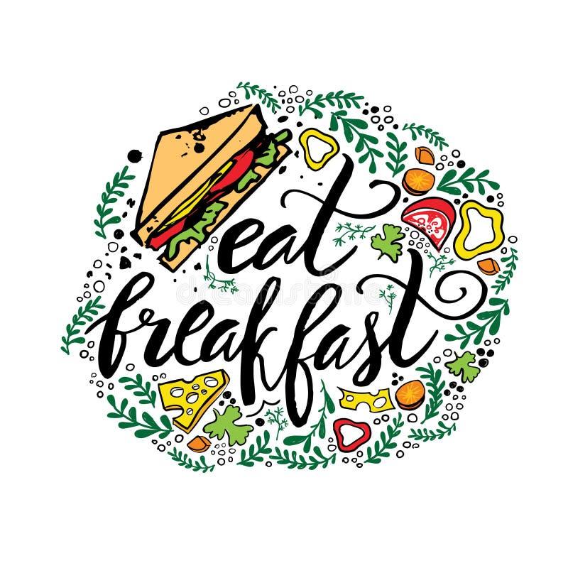 Härlig hand dragen illustrationfrukostöverkant Märka citationstecken med smörgåsen och grönsaker royaltyfri illustrationer