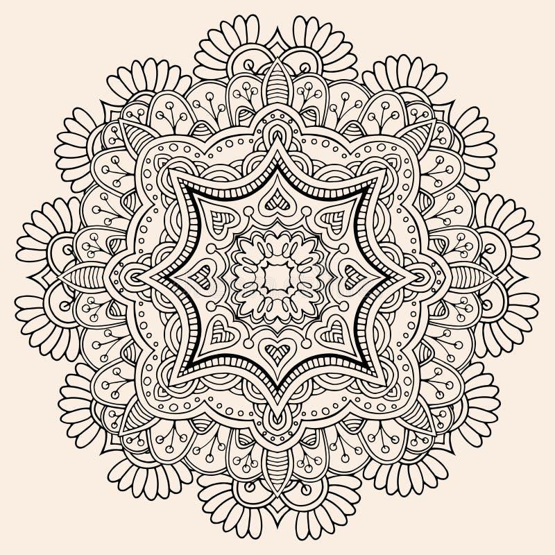 Härlig hand dragen mandala vektor illustrationer