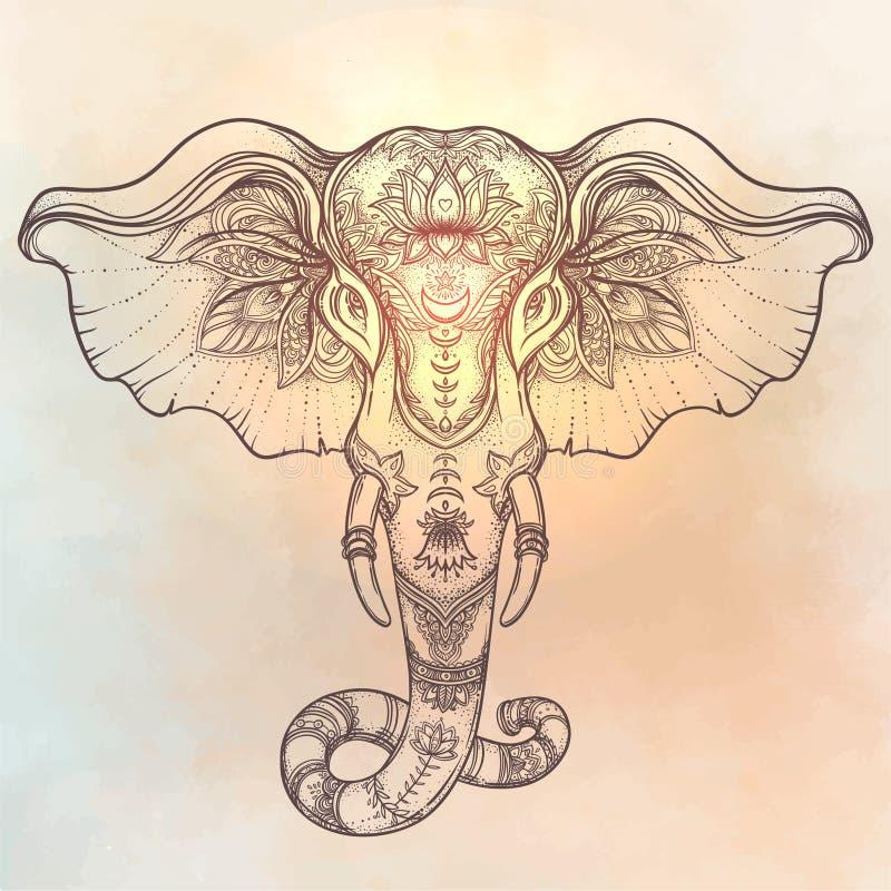 Härlig hand-dragen stam- stilelefant över mandala Colorfu royaltyfri illustrationer