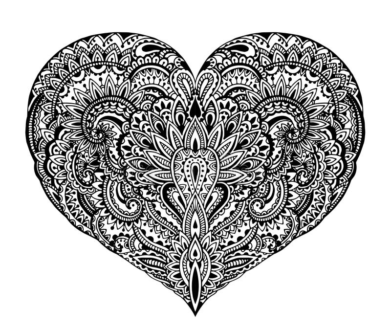 Härlig hand dragen utsmyckad hjärta i zentanglestil vektor illustrationer