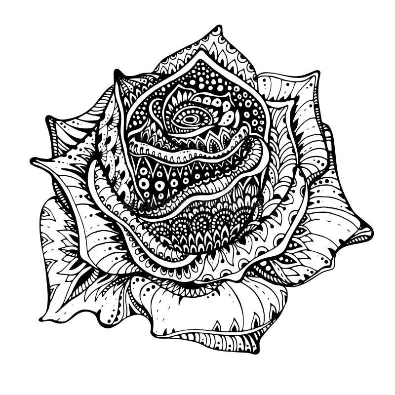Härlig hand dragen utsmyckad rosblomma i klotterstil stock illustrationer