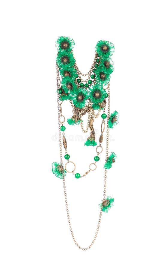 Härlig handgjord grön halsband royaltyfri fotografi