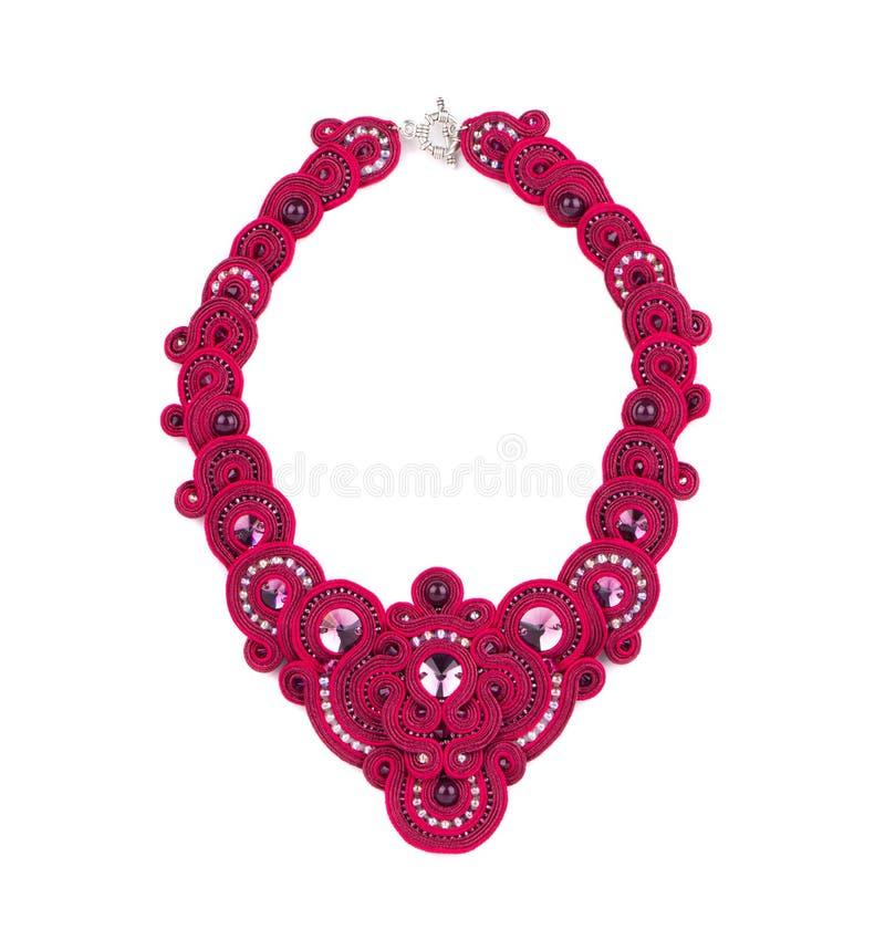 Härlig handgjord rosa halsband royaltyfri foto