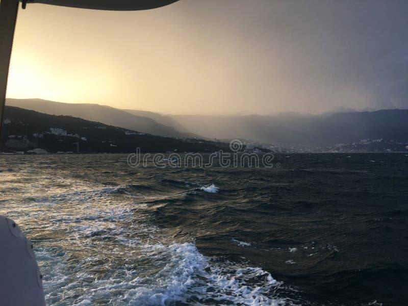 Härlig havsseascapepanorama Sammansättning av naturen i Krim arkivfoton