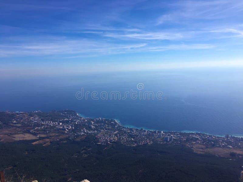 Härlig havsseascapepanorama Sammansättning av naturen i Krim royaltyfri bild