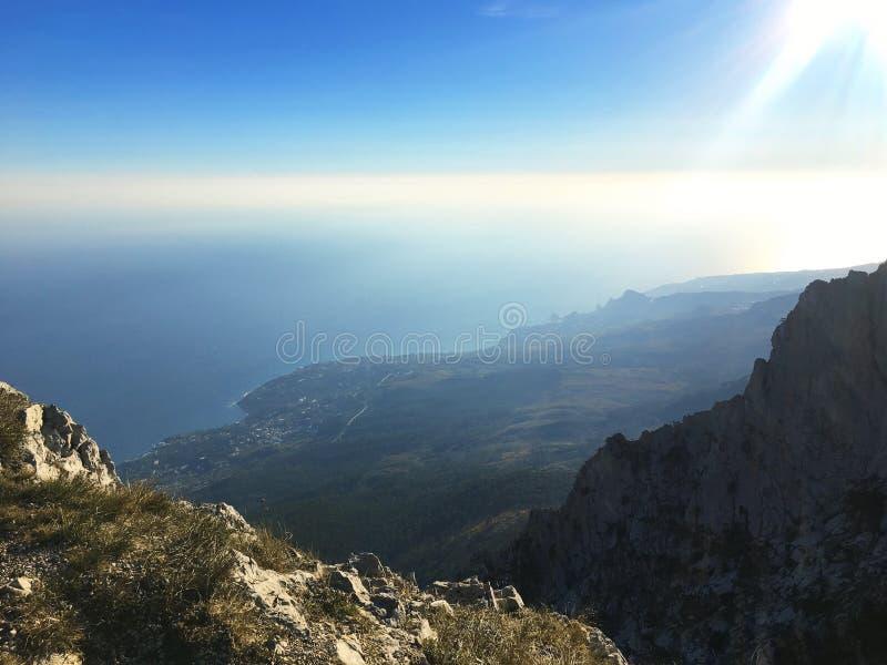 Härlig havsseascapepanorama Sammansättning av naturen i Krim fotografering för bildbyråer