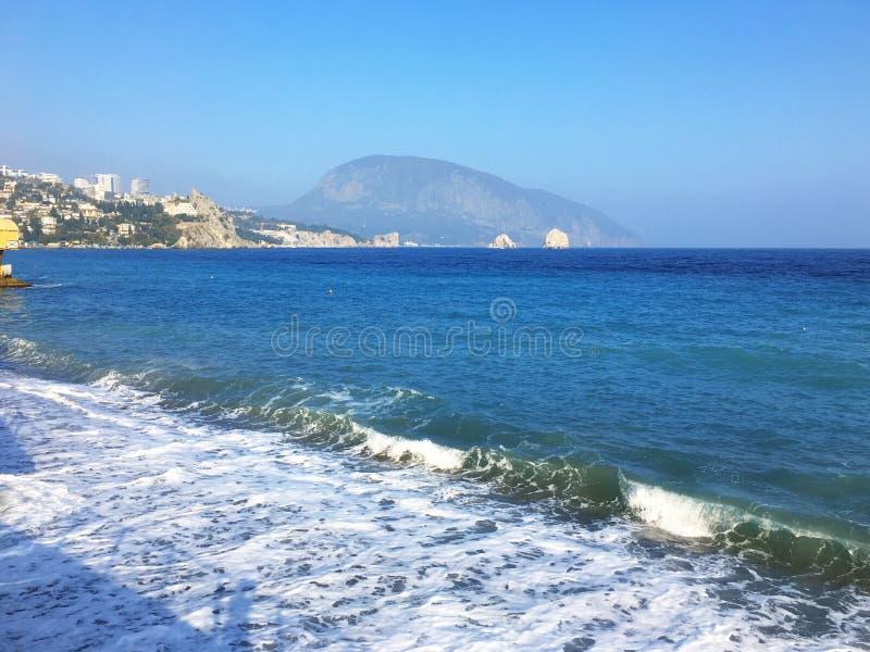 Härlig havsseascapepanorama Sammansättning av naturen i Krim arkivfoto