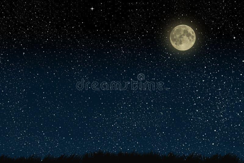 Härlig himmel för magiblåttnatt med moln och fullmoon och stjärnor och gräs arkivfoton