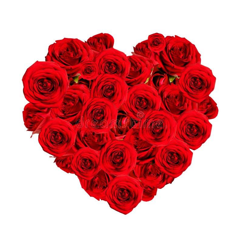 Härlig hjärta som göras av röda rosor royaltyfri bild