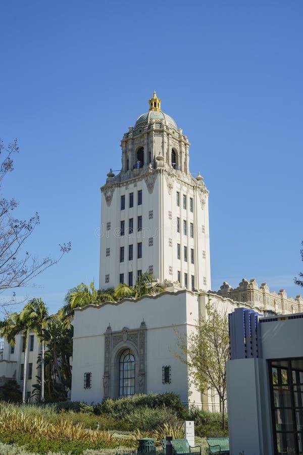 Härlig huvudbyggnad av det Beverly Hills stadshuset arkivfoto