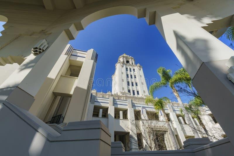 Härlig huvudbyggnad av det Beverly Hills stadshuset royaltyfria bilder