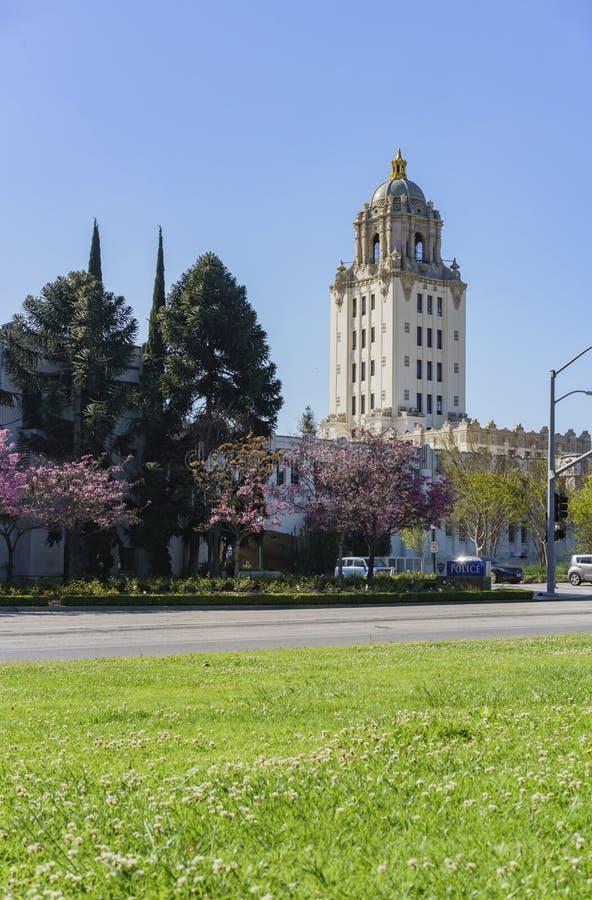 Härlig huvudbyggnad av det Beverly Hills stadshuset fotografering för bildbyråer