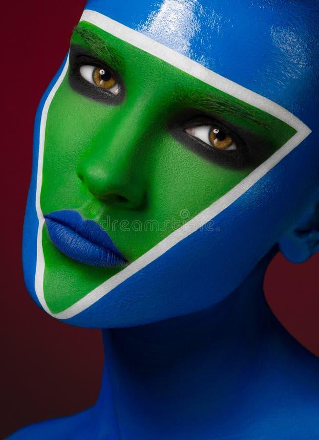 Härlig idérik makeup royaltyfri bild