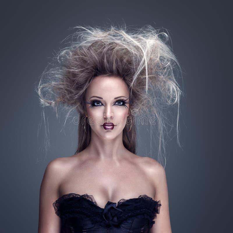 härlig idérik modemakeupmodell royaltyfria foton