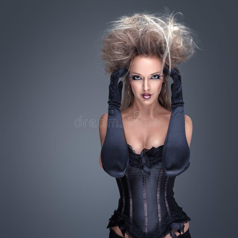 härlig idérik modemakeupmodell royaltyfria bilder