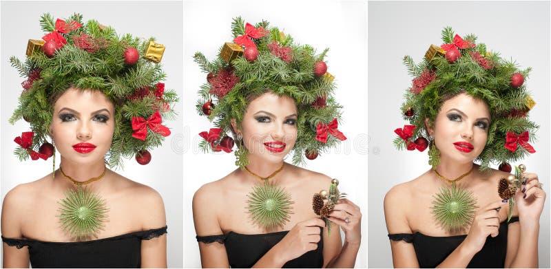 Härlig idérik Xmas-makeup och inomhus fors för hårstil Skönhetmodemodell Girl Vinter Härlig innegrej i studio royaltyfria foton