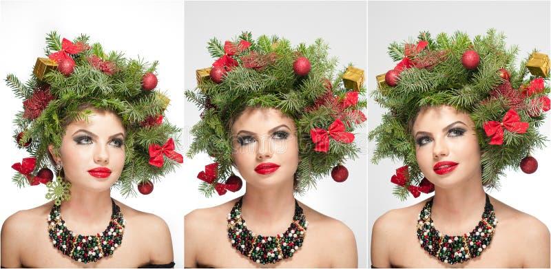 Härlig idérik Xmas-makeup och inomhus fors för hårstil Skönhetmodemodell Girl Vinter Härlig innegrej i studio royaltyfria bilder