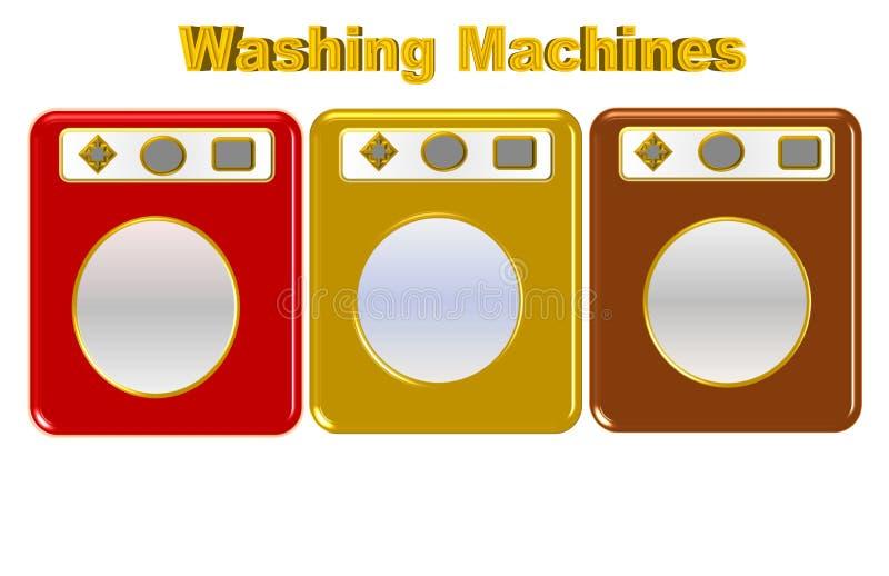 Härlig illustration av den olika kulöra tvagningmaskinen vektor illustrationer