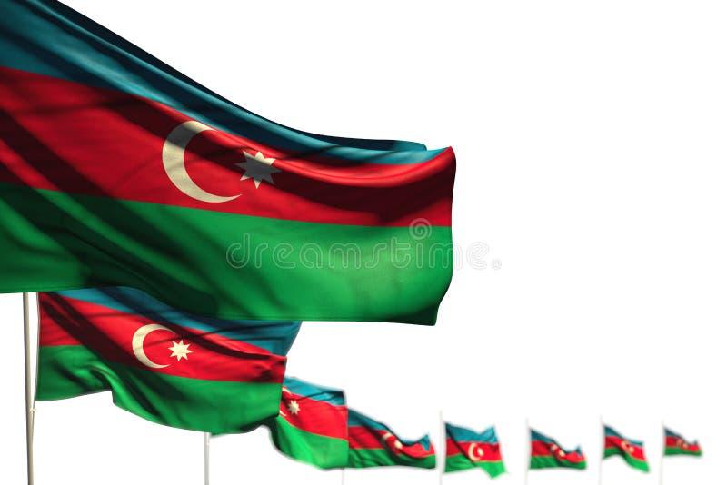 H?rlig illustration f?r flagga 3d f?r arbets- dag - Azerbajdzjan isolerade flaggor f?rlade diagonalt, bild med bokeh och st?llet  royaltyfri illustrationer
