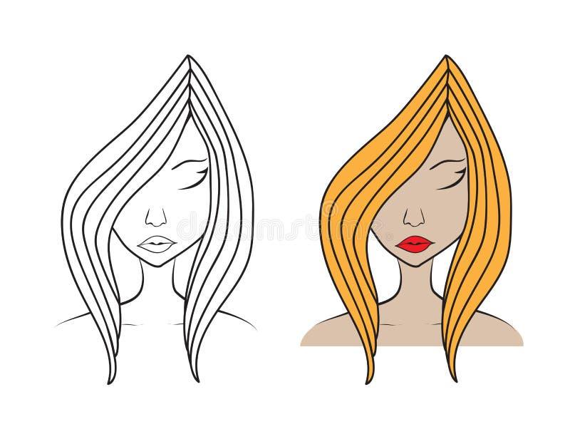 Härlig illustration för kvinnaframsidavektor, flickamodell, modestil, skönhet Diagrammet skissar teckningen, logosalongen, långt  royaltyfri illustrationer